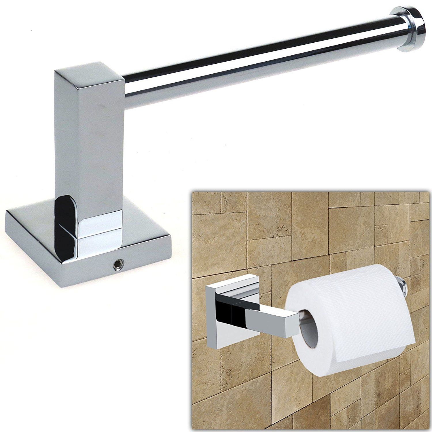 safekom bathroom accessory chrome square wall mounted toilet roll tissue paper holder amazonco