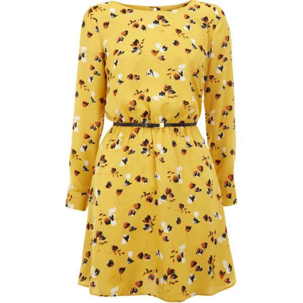 Ochre Floral Print Skater Dress (210 BRL) ❤ liked on Polyvore featuring dresses, vestidos, платья, women, waist belt, long-sleeve skater dresses, long sleeve dress, skater dress and beige long sleeve dress