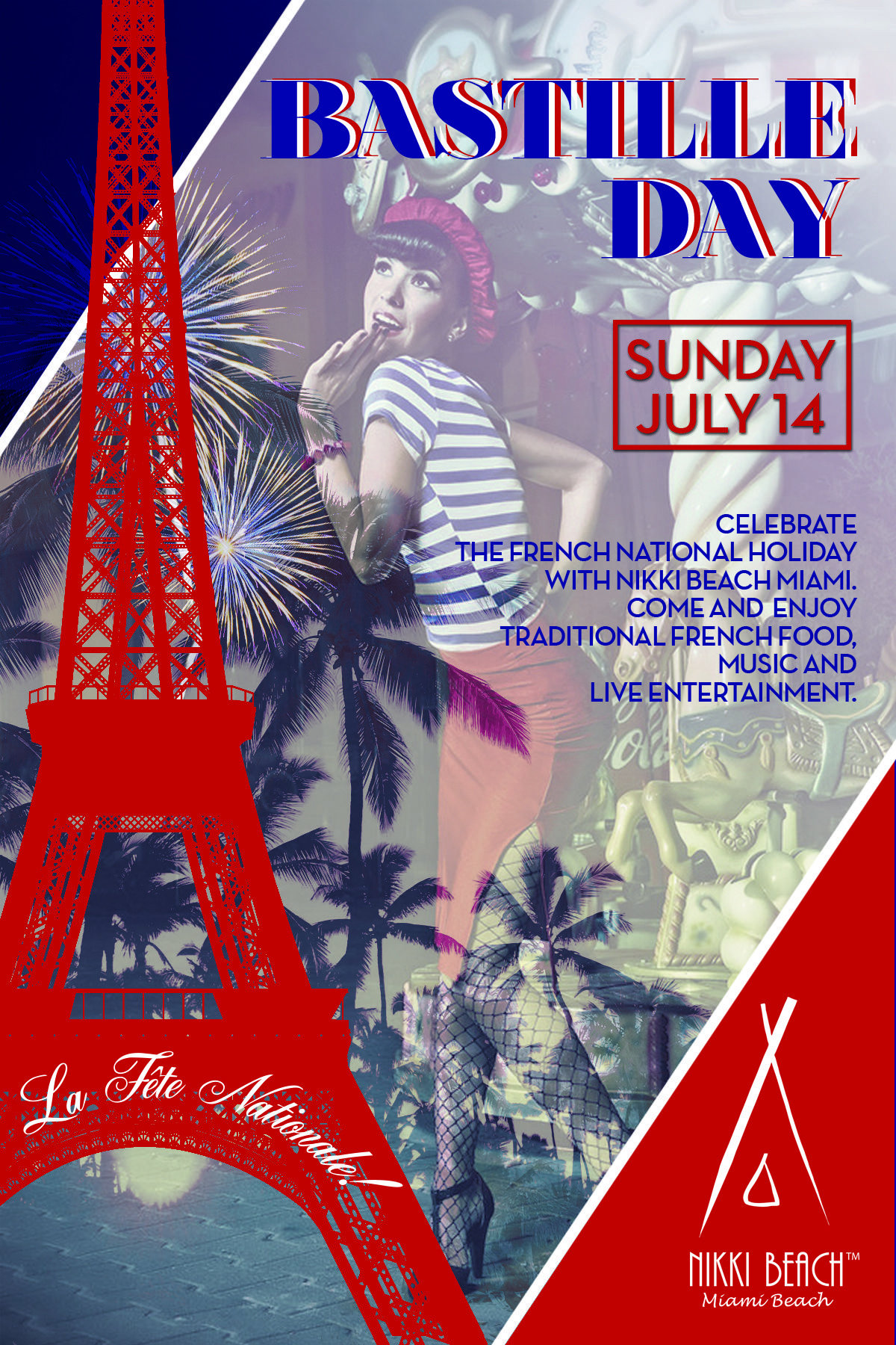"""Celebrate the French National Holiday with us at Nikki Beach Miami and see for yourself why we have been named the """"Sexiest Place on Earth.""""  Come enjoy traditional French food, music and live entertainment."""