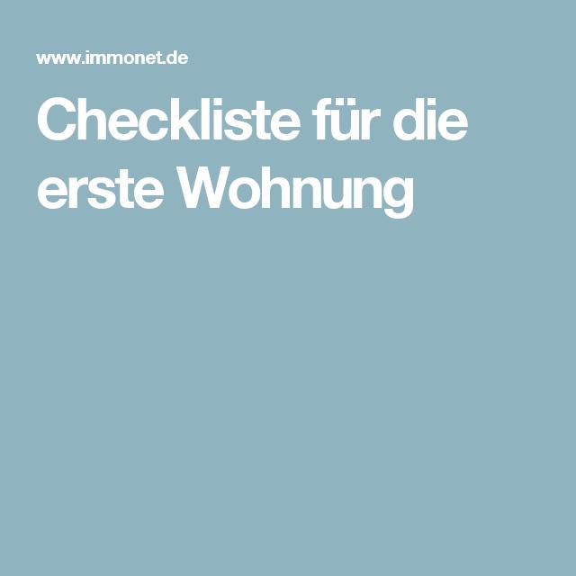 Checkliste für die erste Wohnung | Zukunftsängste ahoi | Erste ...