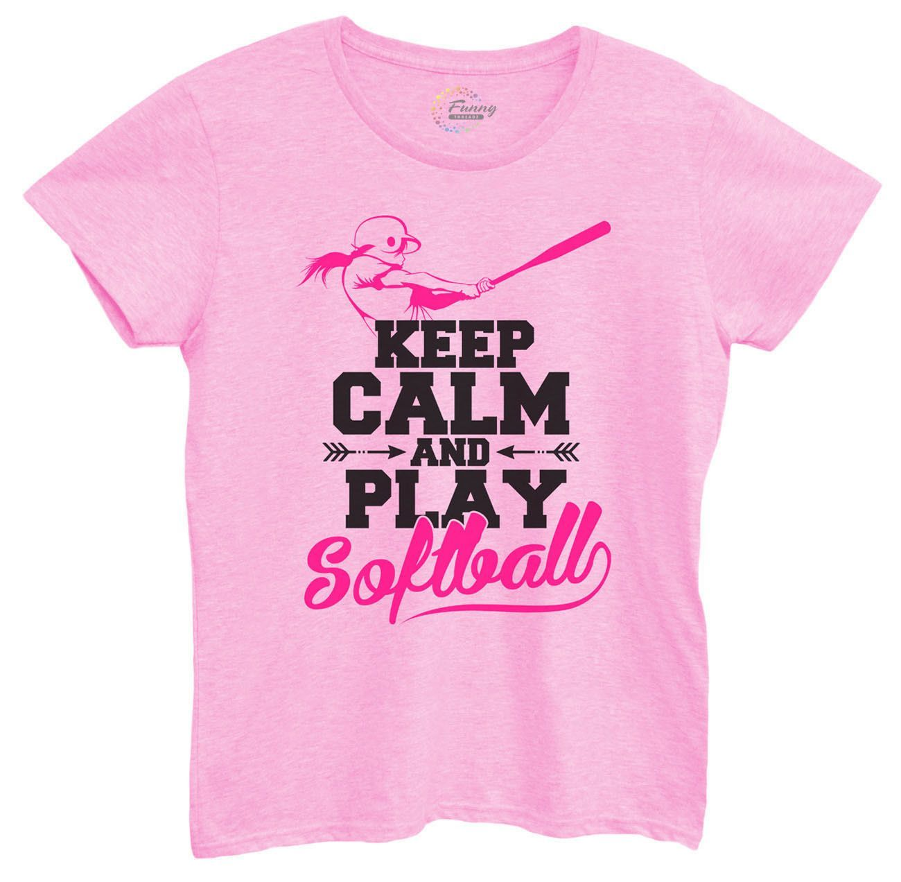 Womens Keep Calm And Play Softball Tshirt