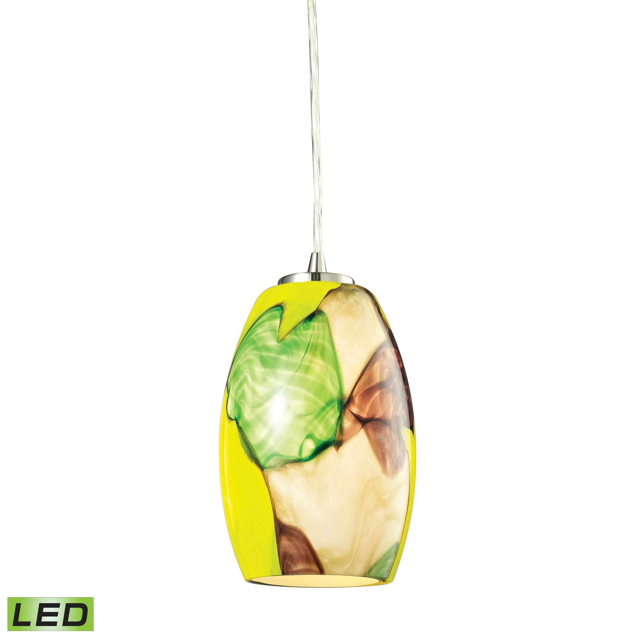 Surreal led light pendant in satin nickel and cream yellow elk