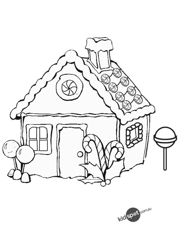 House Drawing Color: Gingerbread Man House Coloring Pages