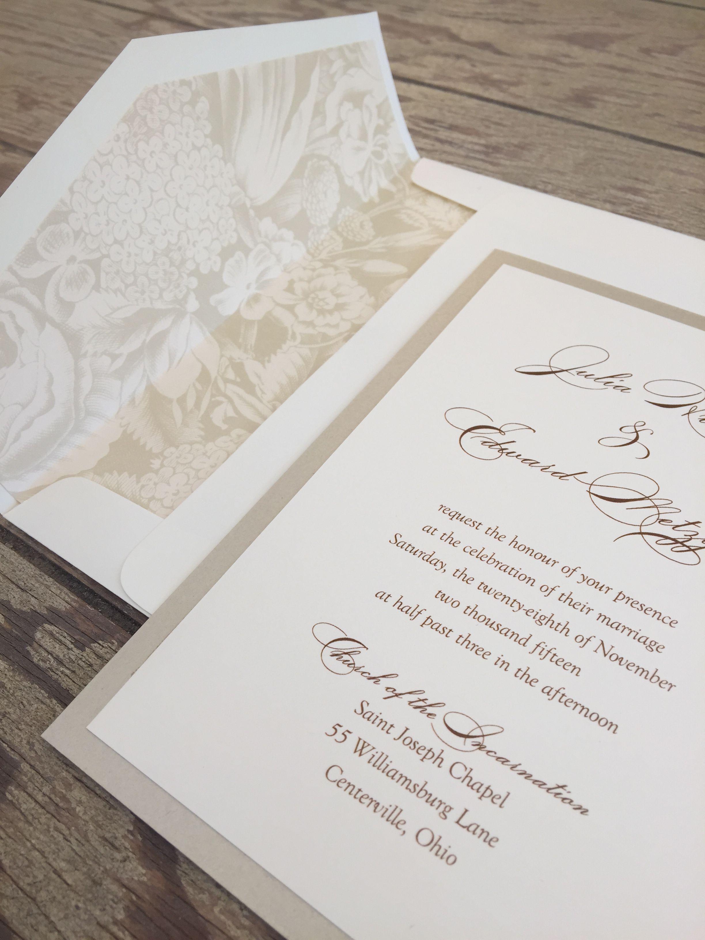 Beautiful wedding invitation with printed envelope liner Custom