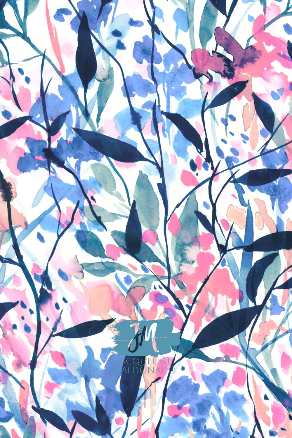 Watercolor floral art print by surface designer Jacqueline Maldonado. Color trends and print and pattern art licensing. #surfacedesign