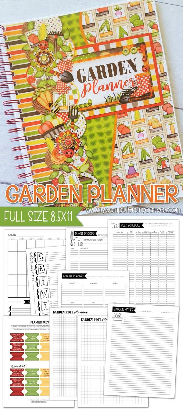 garden planner full size 8 5x11 printable great for taking notes