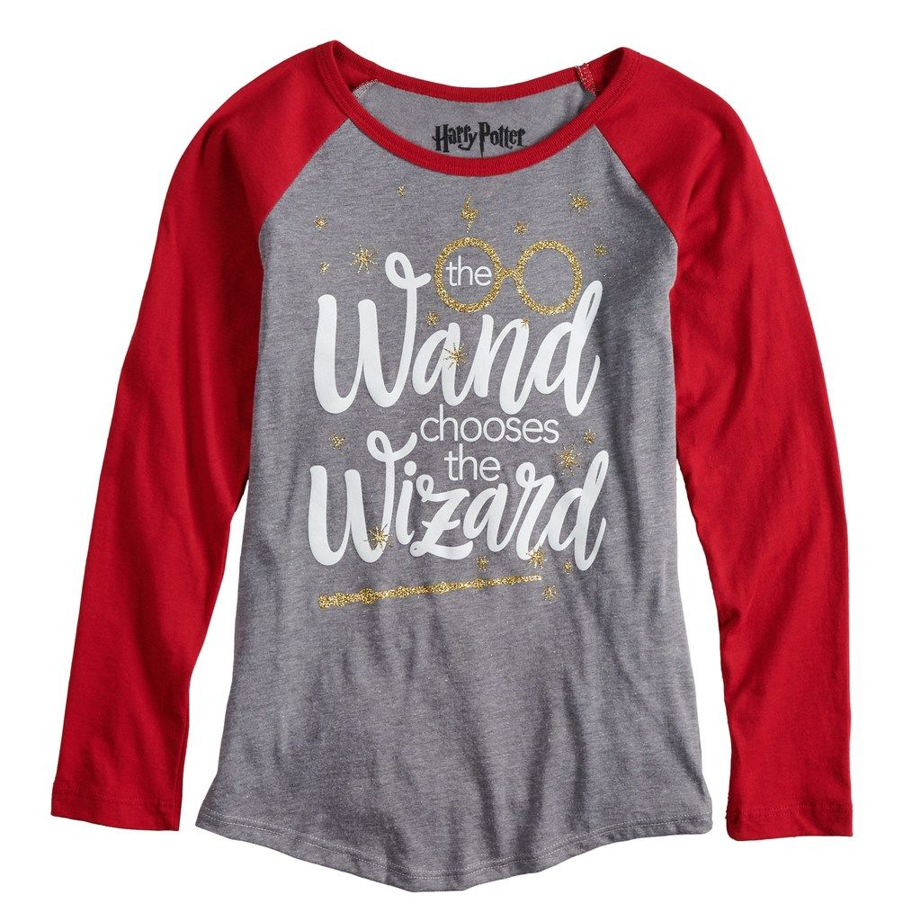 02137a7f Girls 7-16 Harry Potter Wizard Wand Raglan Tee, Size: Large, Grey ...