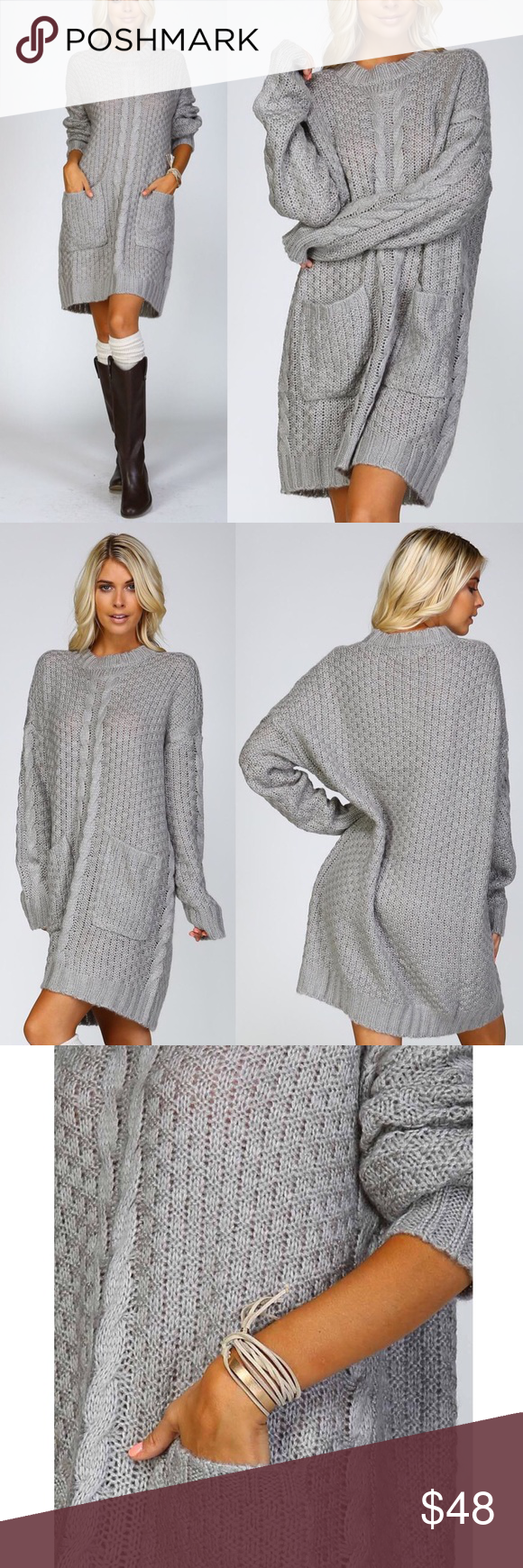🆕BLUE IVY Chunky sweater dress w/ pockets - GREY | Chunky cable ...