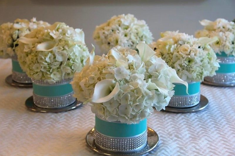 924069121bfd Tiffany Blue floral arrangement for a (my sister s) Tiffany s themed Baby  Shower