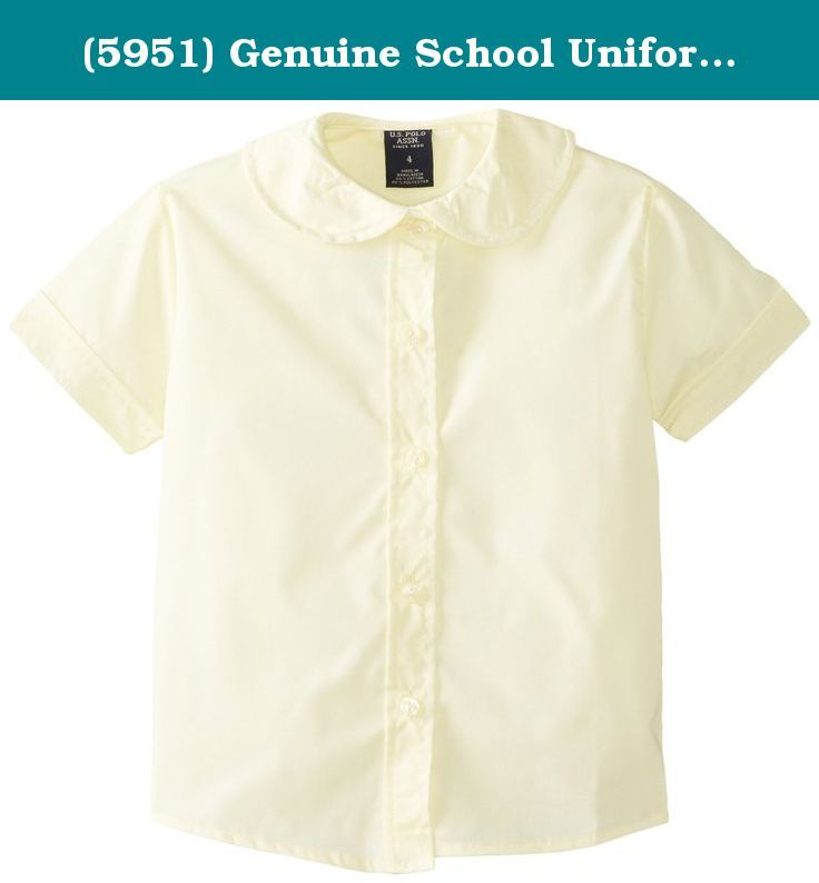 1731140c925a (5951) Genuine School Uniforms Girls Cotton Peter Pan Collared Button Down Short  Sleeve Shirt (Sizes 4-16) in Yellow Size  6. Short sleeve broadcloth shirt  ...