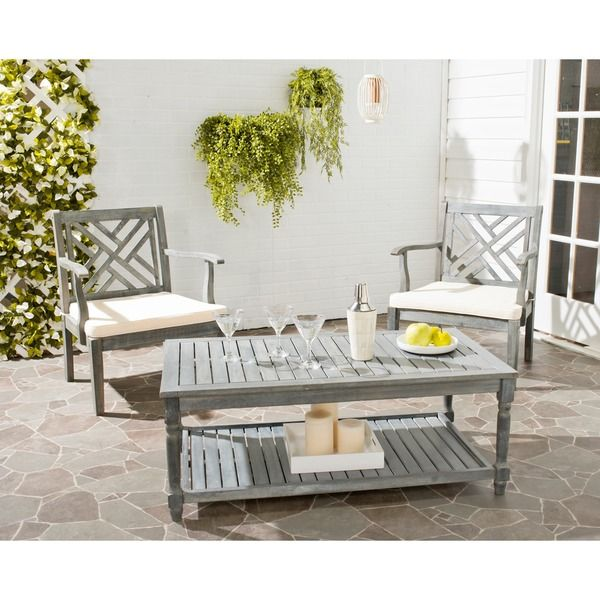 safavieh outdoor living oakley ash grey acacia wood coffee table