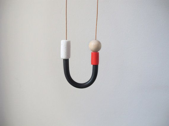 Black white and red necklace