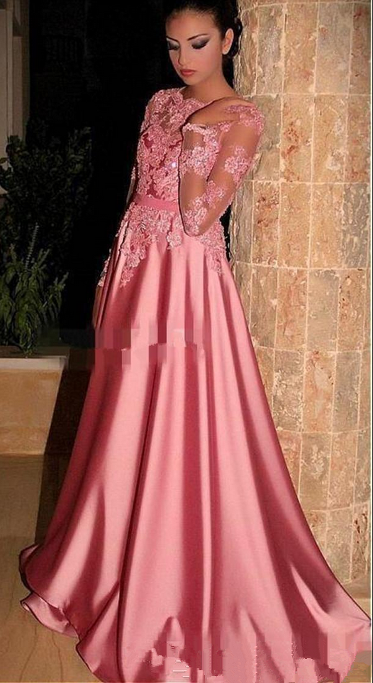 Vintage Arabic Pink Long Sleeves Formal Evening Dresses #prom ...
