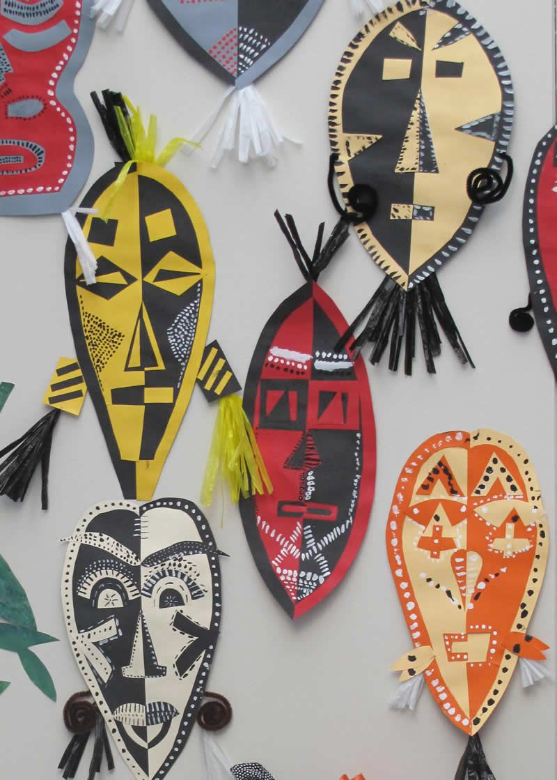 African Masks Symmetry Paper Craft Middle Upper Primary African
