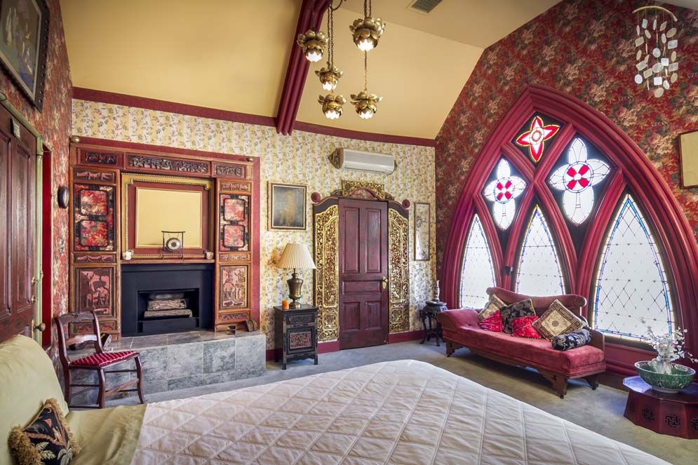 In Ventura, CA, an old Gothic church now serves as a bed-and-breakfast. Originally St. John's Methodist Episcopal Church, the building was a Baptist and Pentecostal church and a wedding chapel before falling into disrepair. Now it houses 5 guest bedrooms with fireplaces. One guest suite is even the old choir loft!