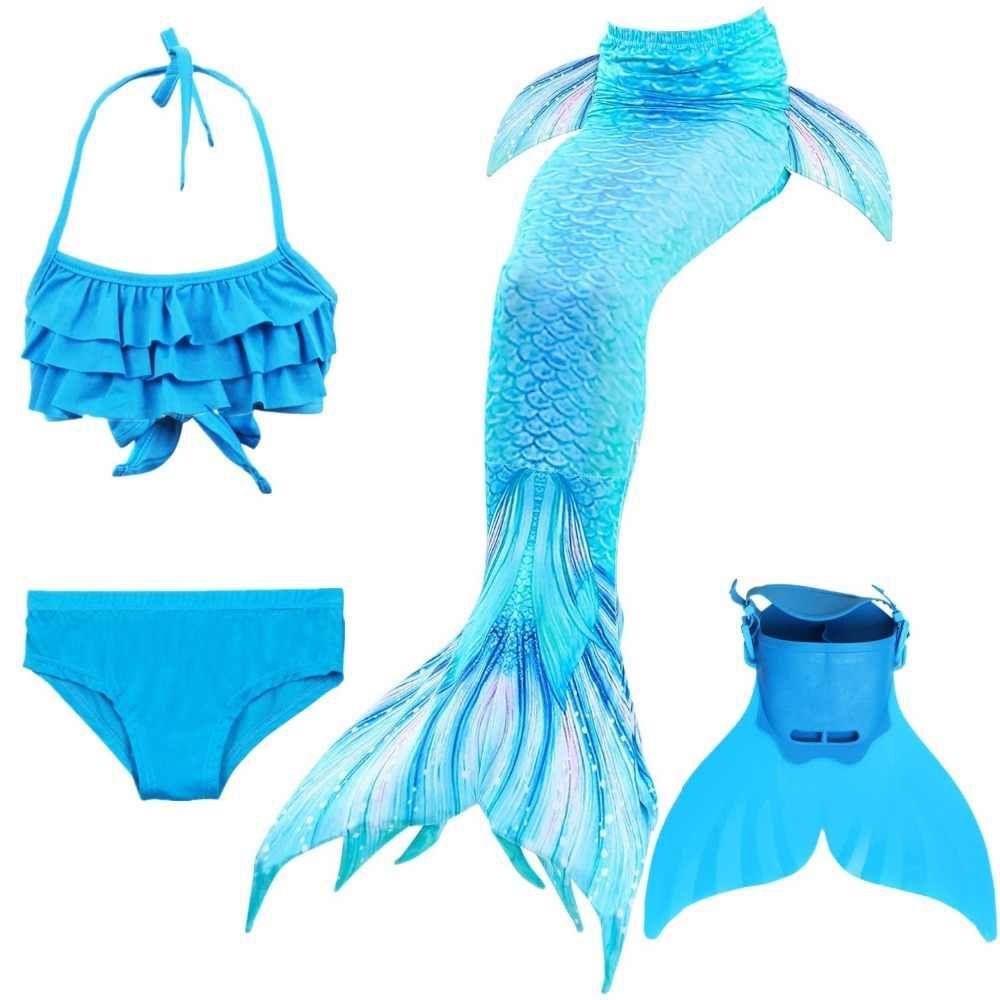 UK Children Kids Girl Mermaid Tail Swimmable Bikini Set Swimsuit Costume Cosplay