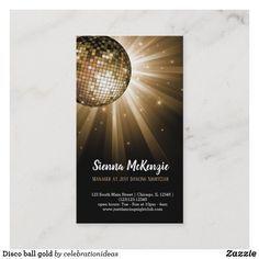 Disco Ball Gold Business Card Zazzle Com In 2021 Gold Business Card Disco Ball Dj Business Cards
