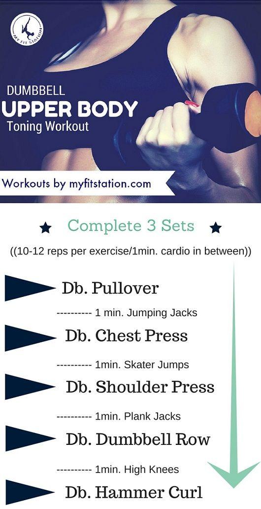 Dumbbell Upper Body Toning Workout - Printable via www.myfitstation.com #workout #fitness