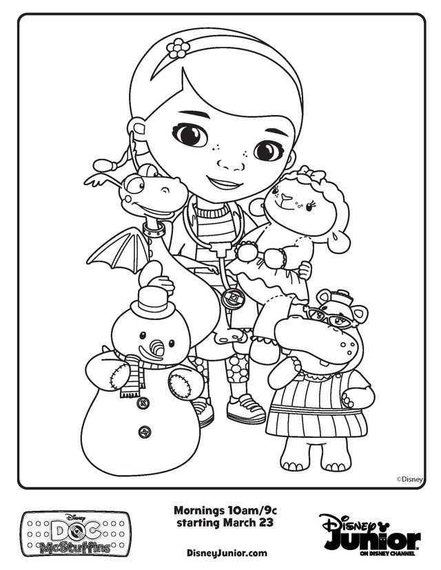doc mcstuffins friends - free printable coloring pages | human ... - Disney Jr Coloring Pages Print