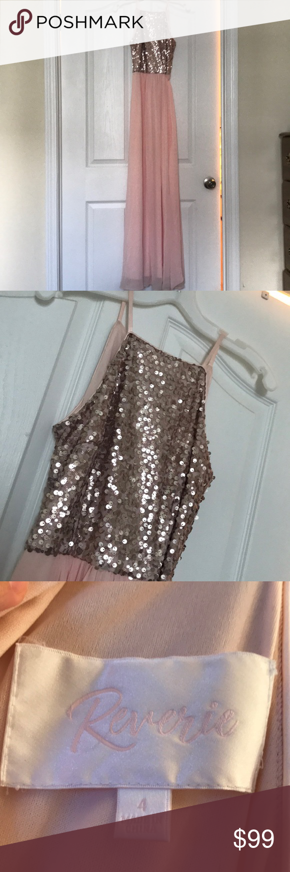 Sequin and chiffon highneck bridesmaid dress in my posh