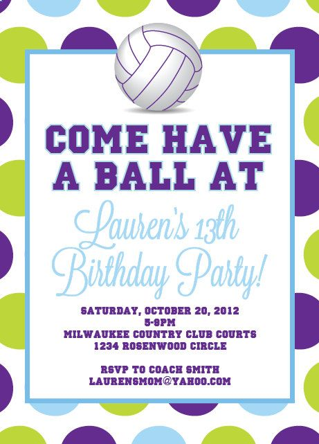 Volleyball Party Printable Designs Volleyball Party Volleyball Birthday Party Party Invite Template