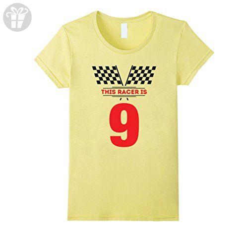 Womens Kids 9th Birthday Racing Gift T Shirt For 9 Year Old Boys XL Lemon