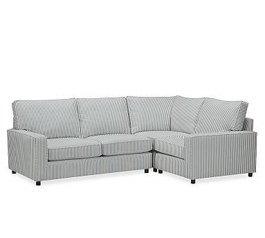 PB Comfort Square Arm Upholstered Left Arm 3-Piece Corner Sectional, Box Edge Down Blend Wrapped Cushions, Sateen Ticking Stripe Indigo