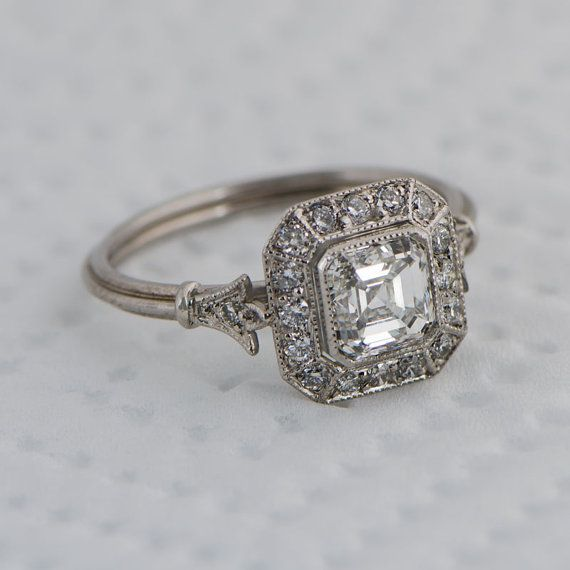 Vintage Style Asscher Cut Diamond Engagement Ring Diamond Halo
