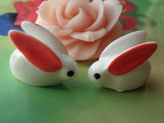 10 pcs 20x17mm Resin Cut  Pink and White Rabbit by handmadeworld88, $2.95