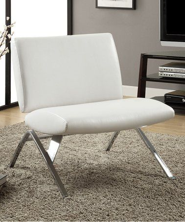 White Faux Leather Accent Chair #zulilyfinds