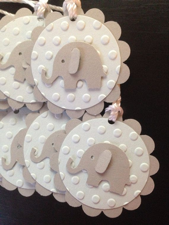 Gift Tags Elephant Baby Shower Qty 12 blue grey by PaperStuff4u