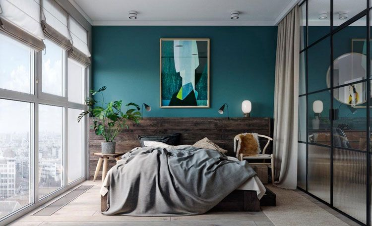 bleu canard osez cette couleur dans votre d coration int rieure chambre pinterest mur. Black Bedroom Furniture Sets. Home Design Ideas