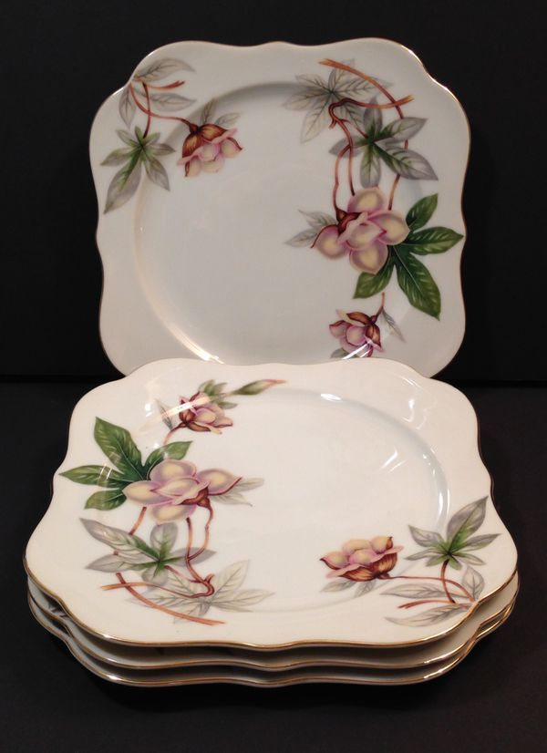 Plates For Sale >> 4 Vintage Meito China Ivory Woodrose Purple Gold Square