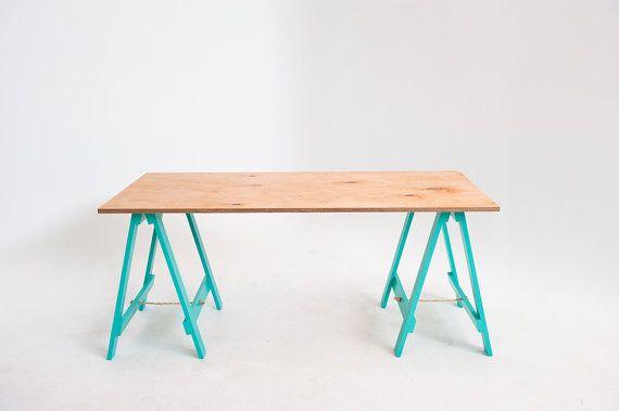 Bureau table de salle à manger u e avec planche tréteaux