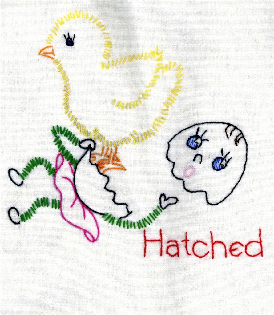 adorable vintage embroidery pattern - hatched egg