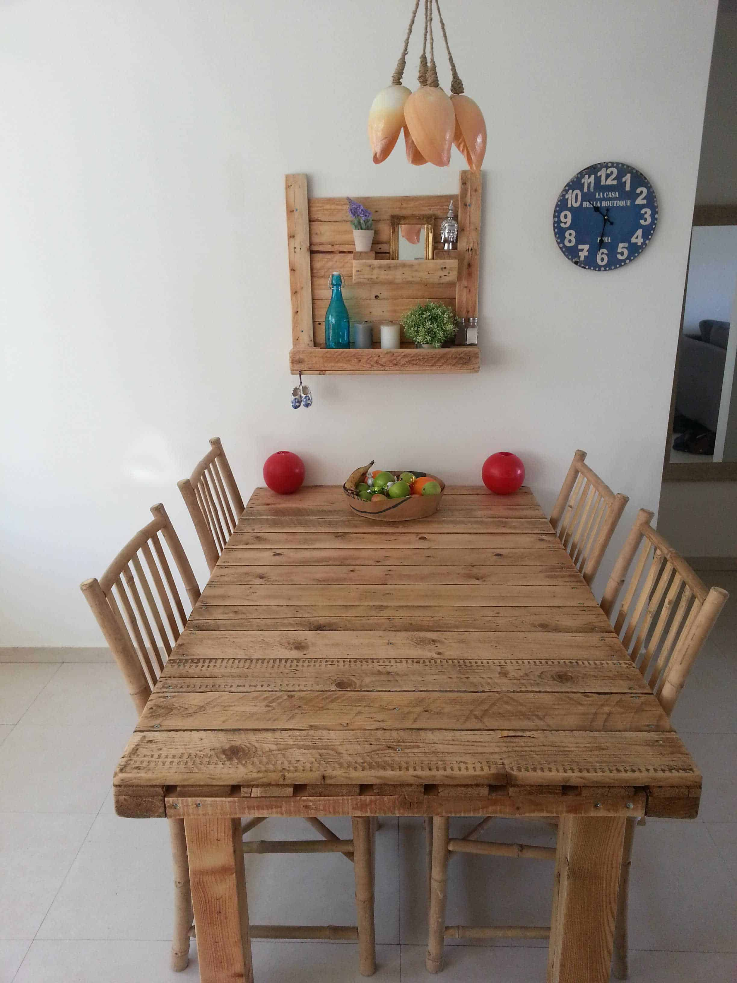 Pallet Table & Shelf • 9 Pallets  Pallet table, Pallet dining