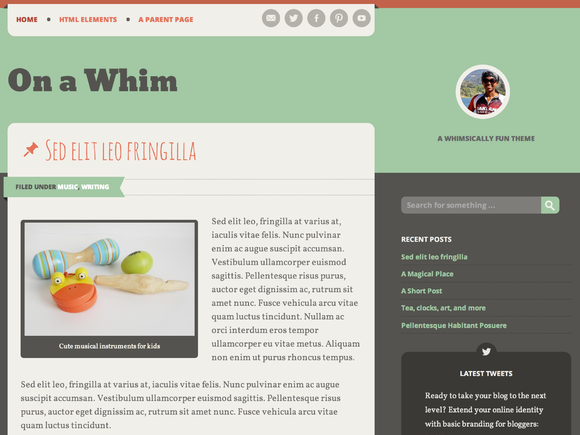 On A Whim By Automattic On Creative Market Blog Themes Wordpress Blog Themes Best Website Templates