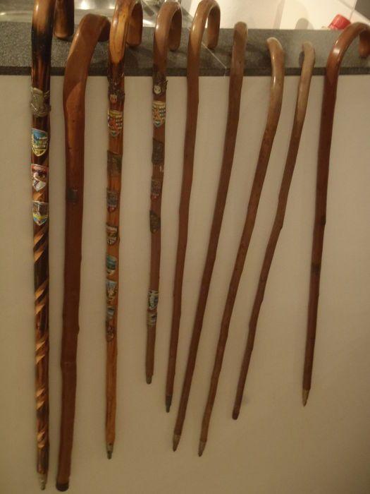 Lot van 9 houten wandelstokken met in totaal 21 plaatjes - 20e eeuw
