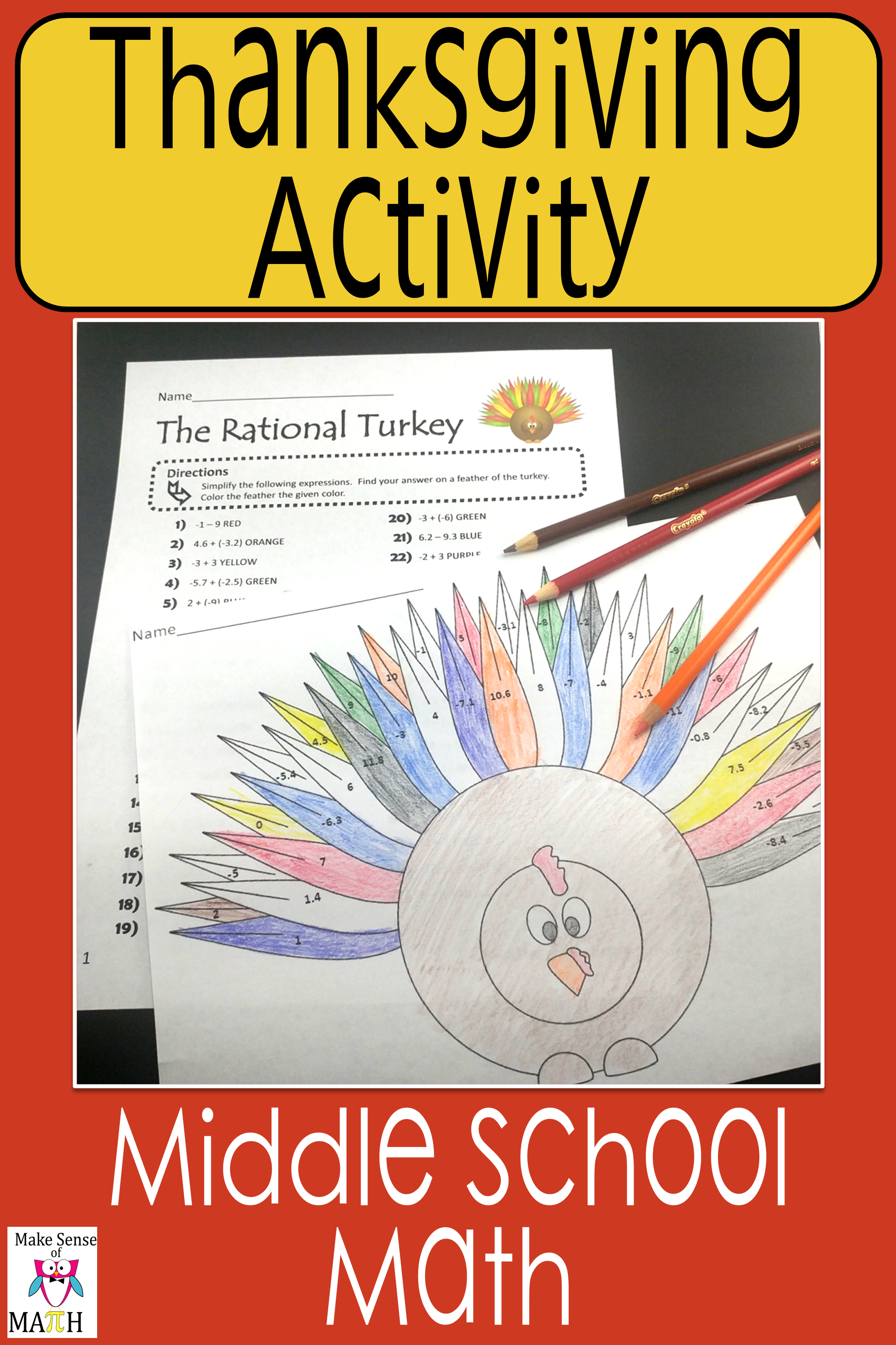 Thanksgiving Math Activity Adding And Subtracting Rational