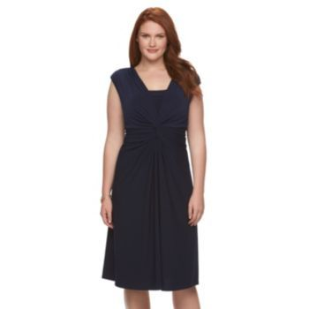 Plus Size Chaps Ruched Knot-Front Dress, Women's, Size: 18 W, Blue (Navy)