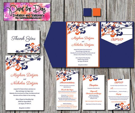 Whimsical Vines Wedding Pocketfold Microsoft Word Template Navy Blue Orange Invitation Rsvp 2 Inserts Thank You Card Custom Color