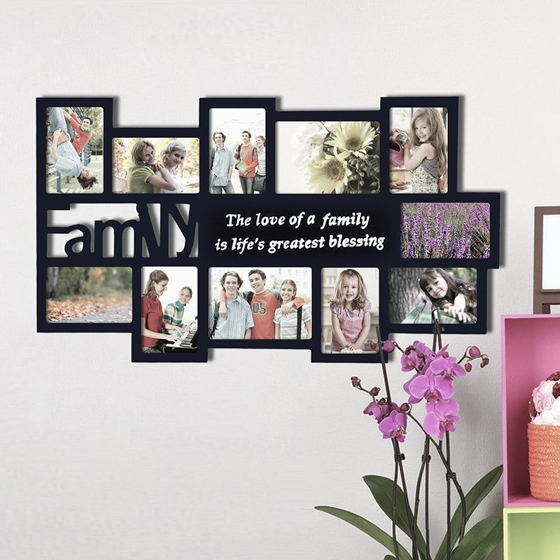 Adeco Decorative Black Wood \'Family\' Wall Hanging Collage 4x6 / 5x7 ...