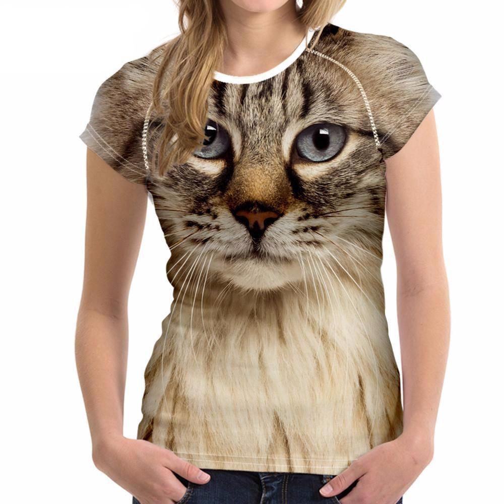 3D Cat Face T Shirt
