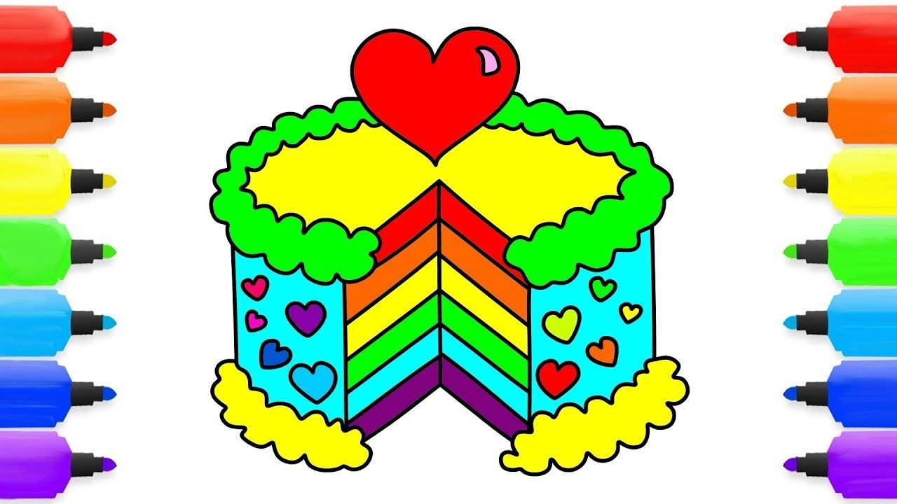 How To Draw Rainbow Cake Coloring Pages Kids Learn Drawing Art Color Coloring Pages Learn To Draw Coloring For Kids