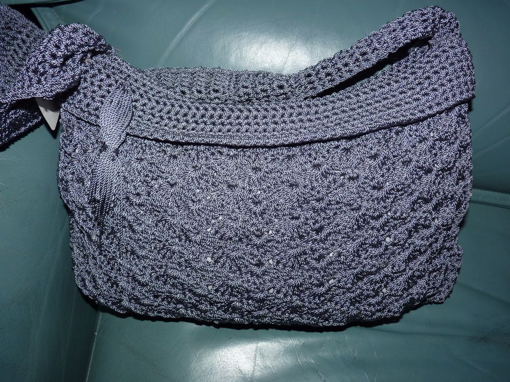 Womens med zippered silver Gray hand crafted crochet silk bag fully lined zips  #knitwikki #hobohipster