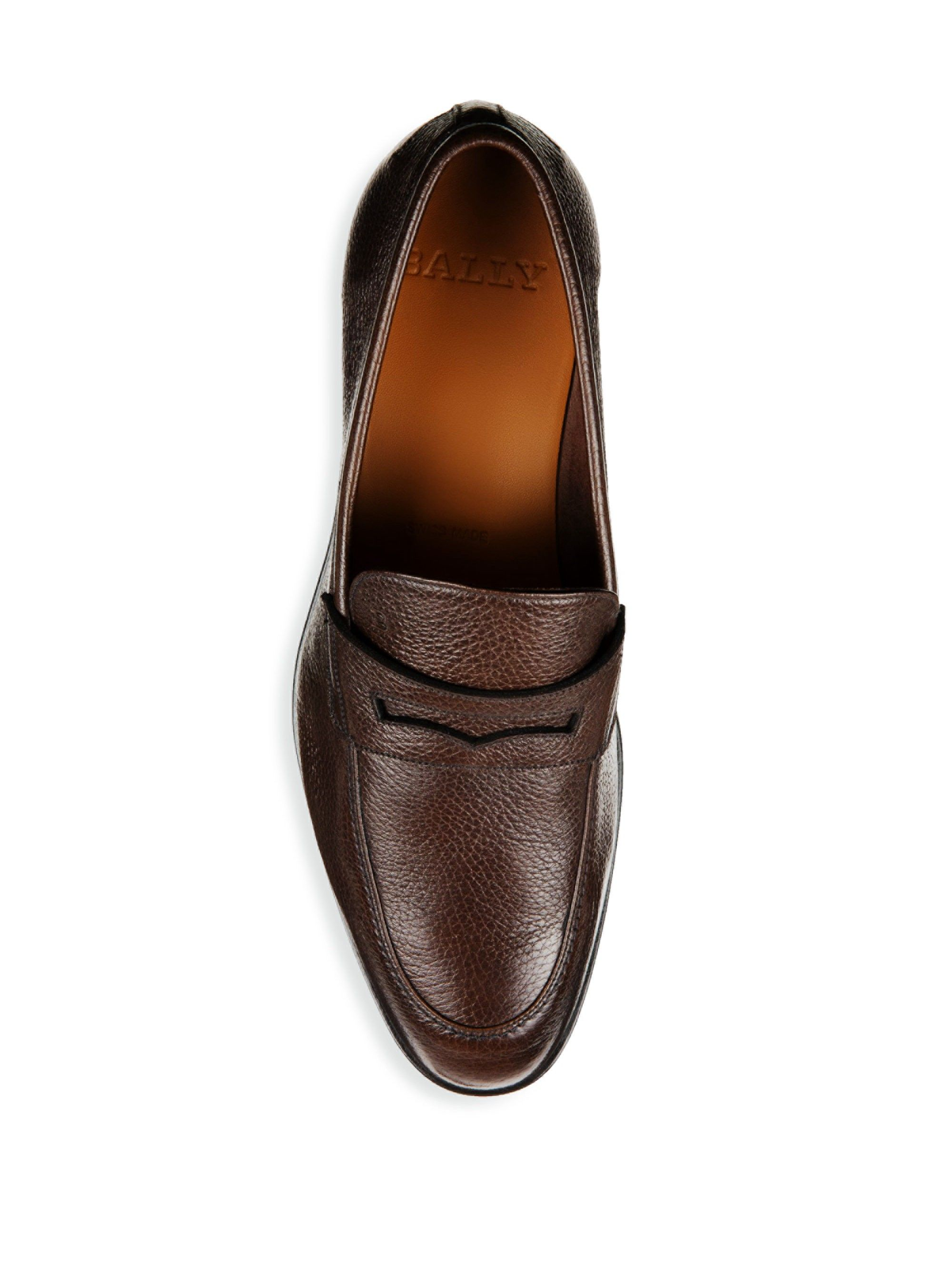 b7cd81897cb Bally Webb Grained Leather Penny Loafers - Brown 10.5 D