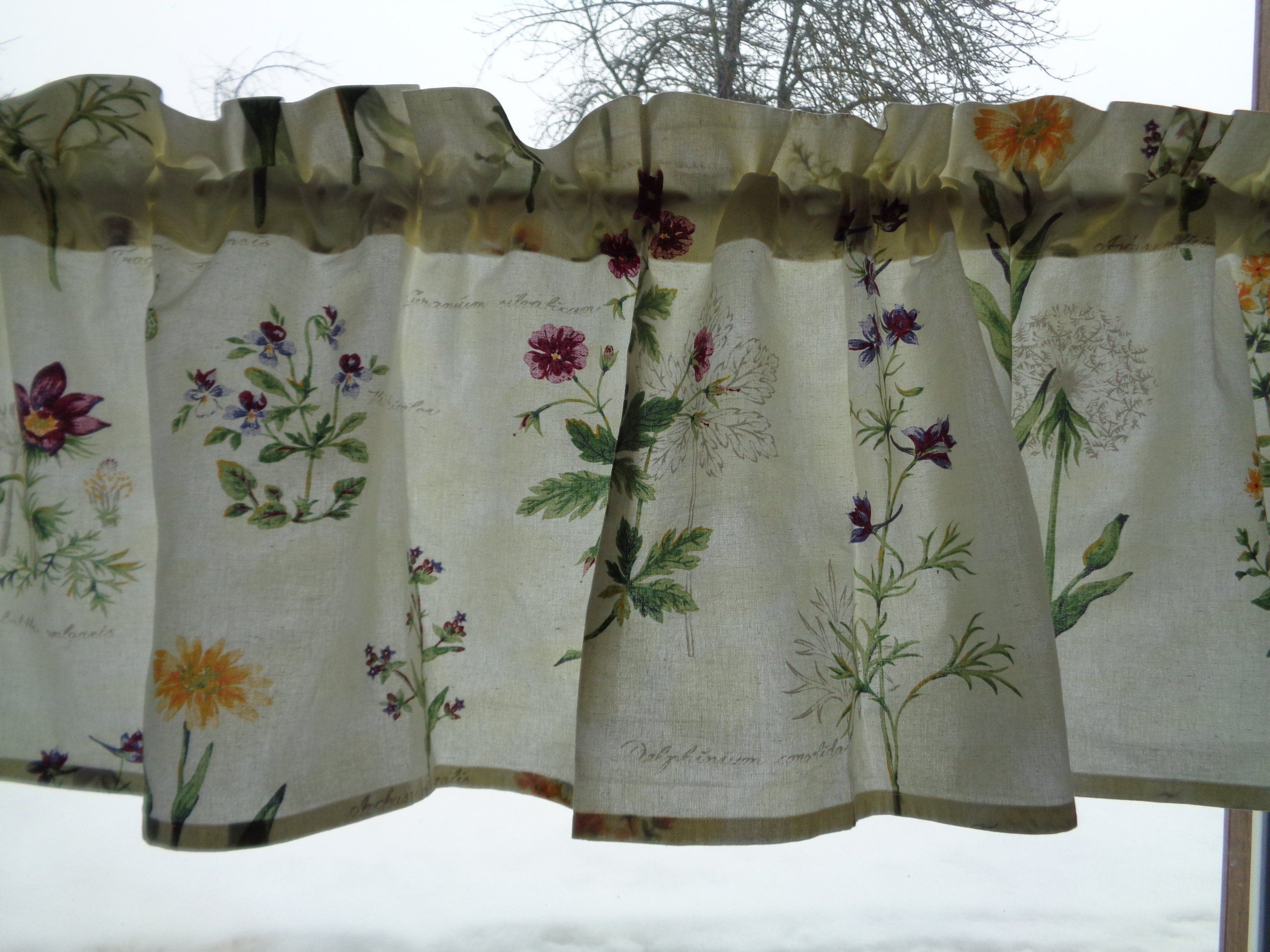 Swedish Vintage Curtain Valance With Botanical Print Cotton