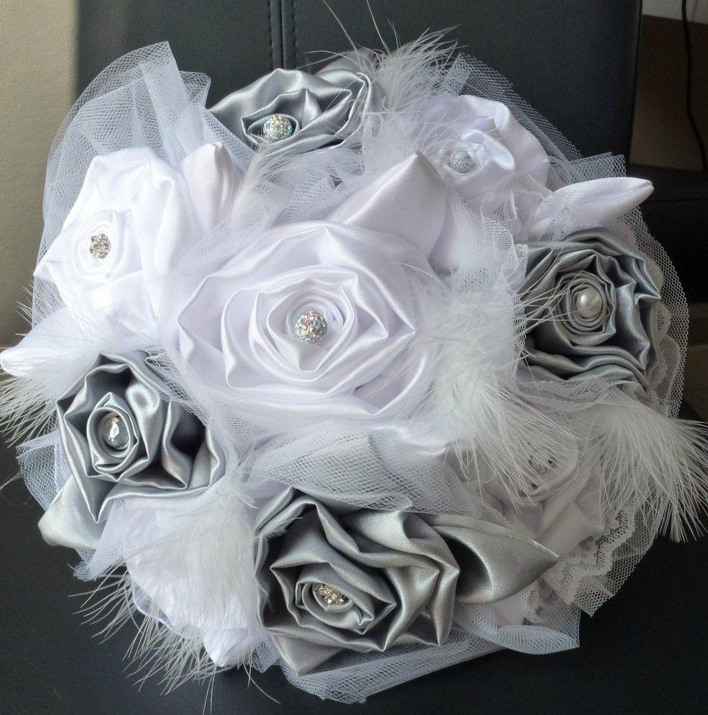Lafeecouturiere Bouquets De Mariee En Tissu Gris Argent Et Blanc