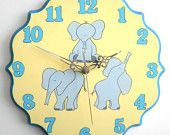 Children/ nursery wall clock, Elephants blue and yellow clock for kids, hand painted on round wooden clock