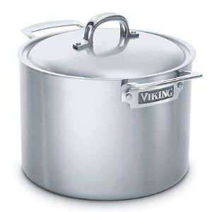 Viking Professional Series Stock Pot with Lid - 8-qt. - Frontgate by Frontgate. $324.00. Ergonomic stainless steel handles are double-riveted and designed for optimal comfort and secure handling. Lids are interchangeable with cookware of the same diameter. Professional Series cookware can be used on any cooking surface, including induction. 5 layer Multi-Ply construction includes 18/10 stainless steel interior and exterior layers, a layer of magnetic stainless steel for i...